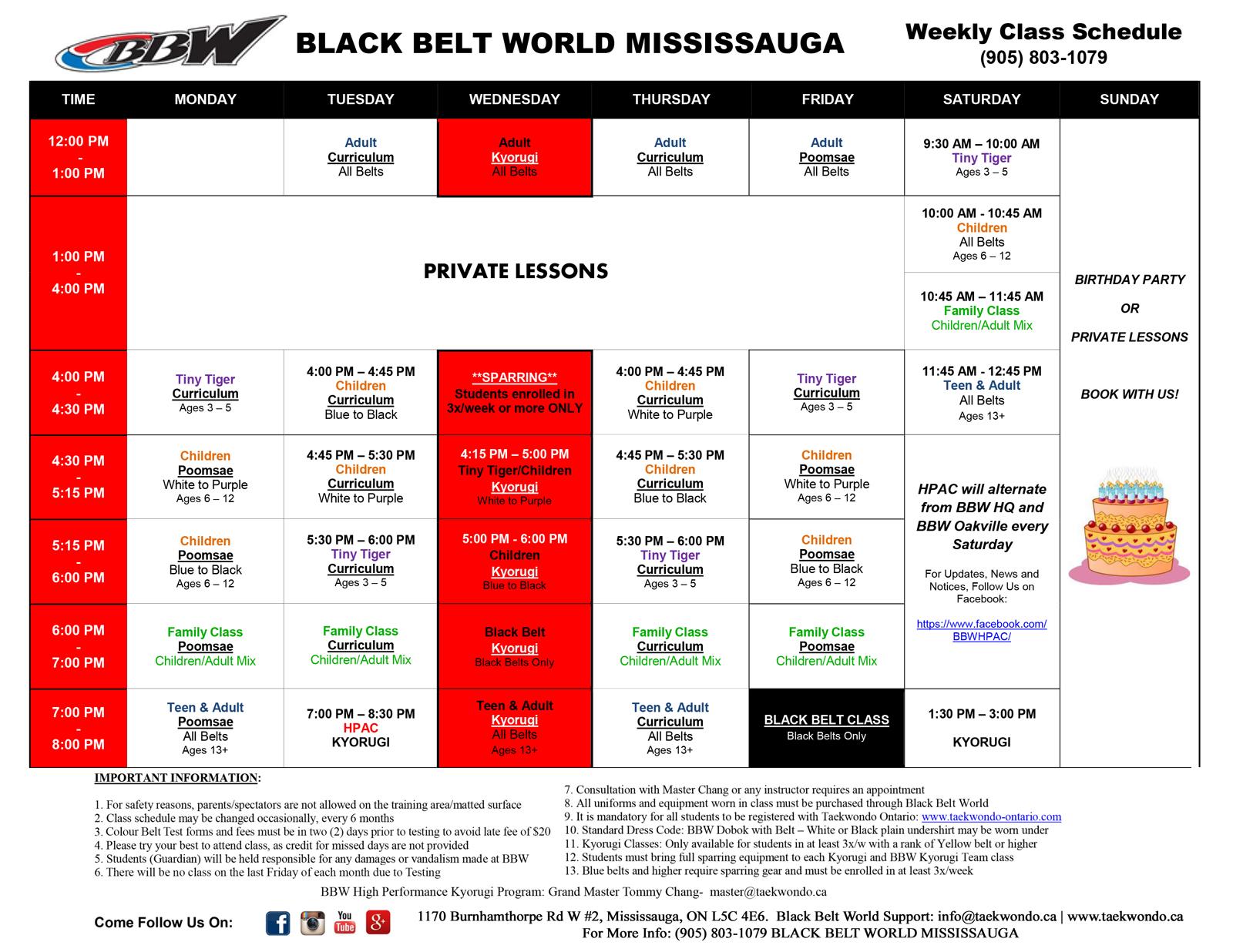 Mississauga Schedule