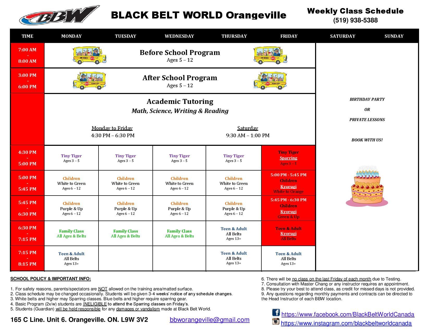 Orangeville Schedule