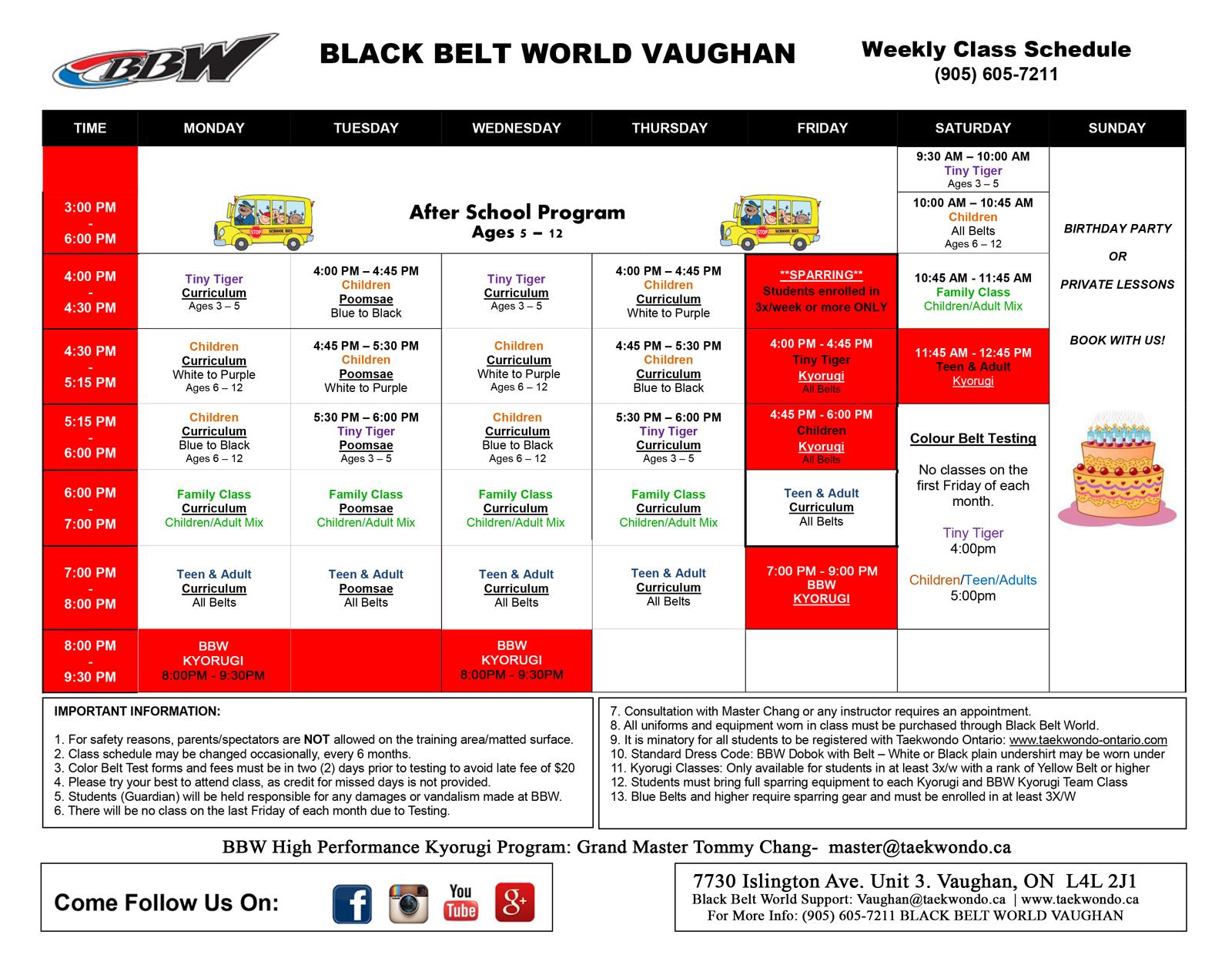 Vaughan Schedule