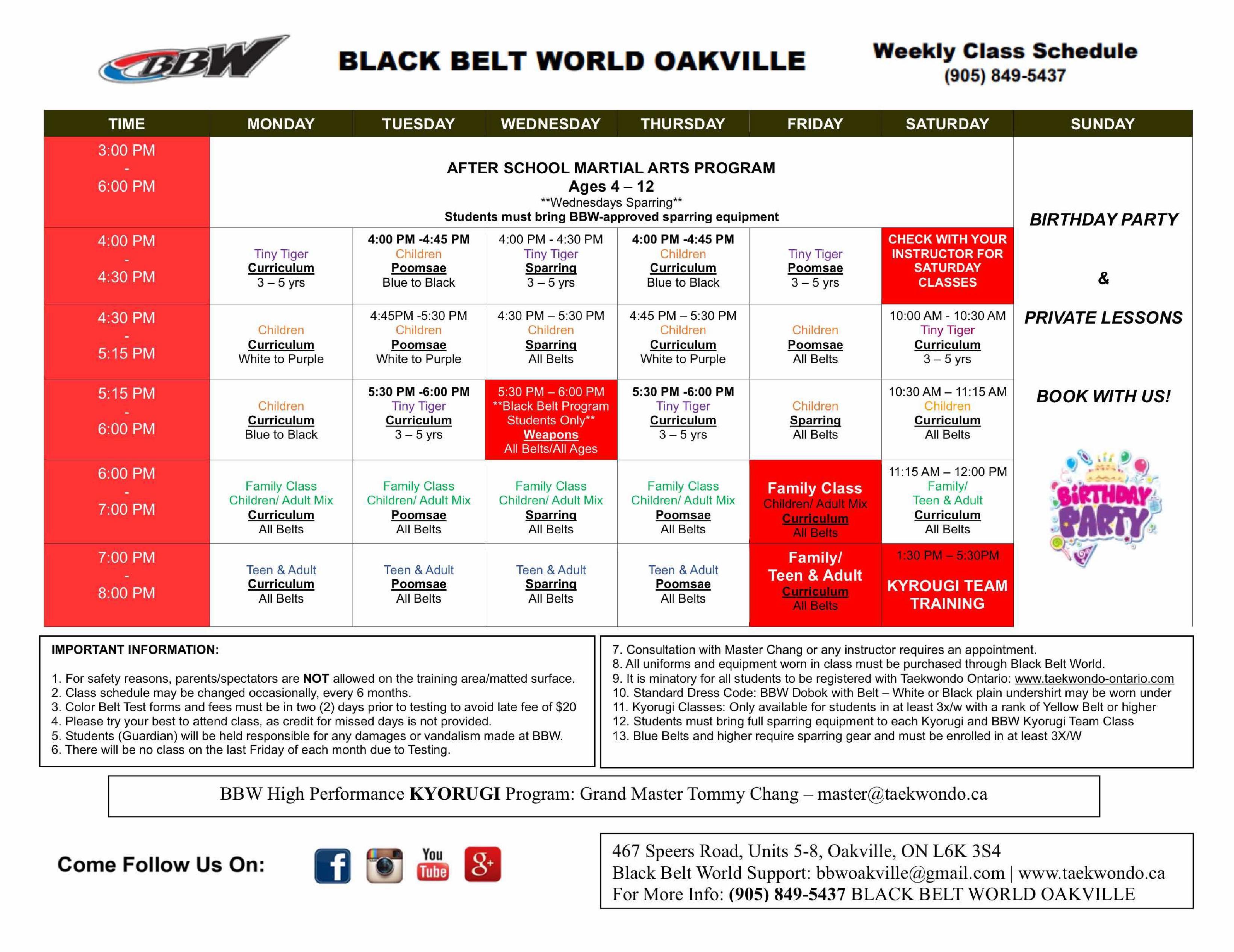 Oakville Schedule